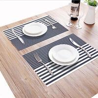Placemats Set of 4 Table Mat Heat Resistant Woven Washable PVC Blue White Stripe