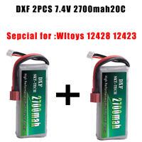 2PCS DXF Lipo Battery 2S 7.4V 2700mah 20C Max 40C for Wltoys 12428  12423 car