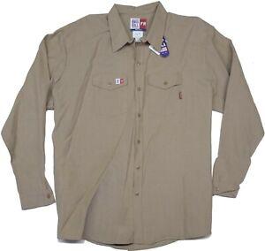 New Flame Resistant FR Retardant Work Shirts Khaki Big Bill Made in USA 3X 4X 5X