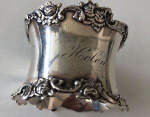 Antique Ornate Roses Napkin Ring Sterling Silver Mono Helen 37.2Gr
