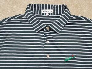 Fishers Island Club Peter Millar Golf Polo Shirt Green Striped Men's Large EUC