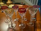 Bohemian Cut Crystal Cordial Glasses - Color to Clear - Set of 7 - 5