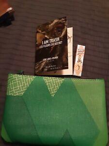 Ipsy Green Make Up Bag With Perfume & Gimme Brow, New