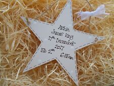 Shabby Chic Style Personalised New Baby Star Keepsake Plaque Gift Any Colour