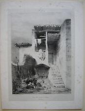 Cour d' une maison a Royat AUVERGNE FRANCE Orig Litho Engelmann 1831