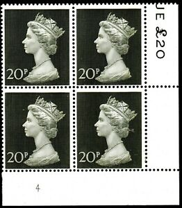 1970 Sg 830 20p olive-green Cylinder 4 Block of 4 Unmounted Mint
