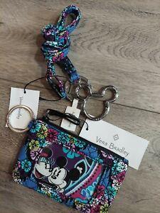 NWT Vera Bradley Disney Zip ID Lanyard Mickey's Paisley Celebration Floral