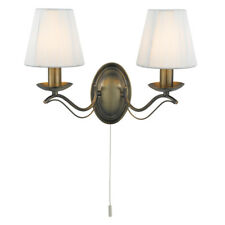 Searchlight 9822-2AB Andretti Antique Brass Wall Light With Cream Shades