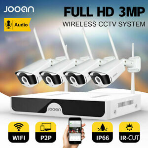 JOOAN 8CH 3MP Wireless Home CCTV Security Camera System IP WiFi NVR Outdoor IR