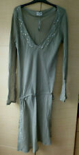 BNWT, COTTON, BEADED & SEQUINNED, BEACH COVER-UP IN KHAKI BY ATMOSPHERE - UK 16
