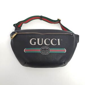 Gucci Men's Retro Vintage Logo Leather Belt Bag Fanny Pack | Black | NEW