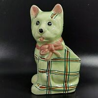 """Plaid Cat Planter 1930s Vintage Green Pink Bow Hand Painted Ceramic Japan 5"""""""