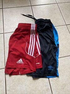 Lot Of 2 Pair Medium Men's Soccer Shorts Loose Fit ADIDAS & UMBRO