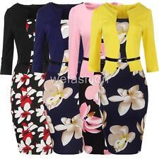 Women Floral Plus Size Half Sleeve Tea Party Evening Cocktail Pencil Dress Belt