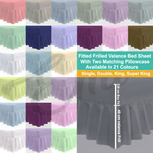 Extra Deep | Plain Valance Sheet |10 Inch Deep Fitted |16 Inch Frilled |S-S KING