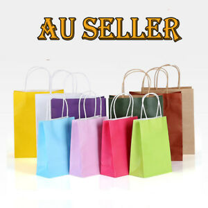 Bulk Kraft Paper Bag Carry Shopping Bags Wedding Party Gift Bags Handle Premium