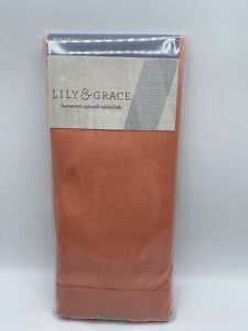 """52"""" X 52"""" Square Tablecloth Coral Color Hemstitch Lily & Grace  New in Package"""