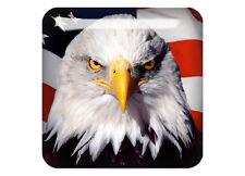 "Bold eagle US flag 1""x1"" Chrome Domed Case Badge / Sticker Logo"