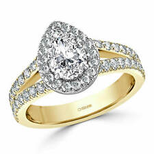 2.00 Ct Pear Cut Solitaire Diamond Engagement Ring 14K Real Yellow Gold Size M N