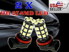 2x Xenon White H11 5050 27-SMD Car LED Fog DRL Daytime Running Light bulbs