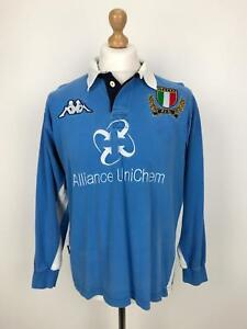 2002-03 KAPPA Italy Rugby Top | Sport Classic Shirt Jersey | Small S Blue