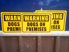 Warning Dogs On Premises Pack of 3 Metal Safety Sign 300x225mm Fast Delivery