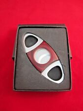 Stainless Steel Cherry Wood Pocket Cigar Cutter Scissors Double Blade Gift Box