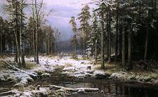 Nice Oil Shishkin Ivan Ivanovich - First Snow in winter forest landscape canvas
