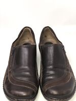 Clarks Artisan Brown Leather And Suede Slip On Loafers Shoes Women's Size 8 1/2M