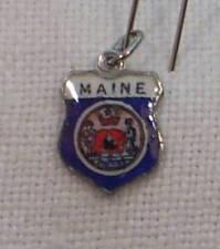 Vintage REU Sterling/Enamel Maine Flag Travel Bracelet Charm New/Old Stock