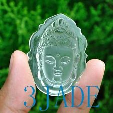Natural Clear Rock Crystal Quartz Kwan Yin / Guanyin Amulet / Pendant