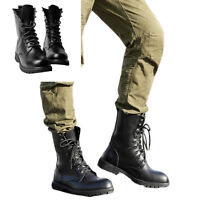 Black Leather Army Patrol Combat Boots Tactical Cadet Security Military Size4-10