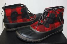 Sorel Women's Out N About Red Plaid Black Mud Waterproof Boots New With Box!