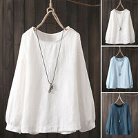 UK 8-24 Women Oversize Long Sleeve Tops Pullover Casual Baggy Shirt Blouse Plus