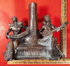 Antique Art Nouveau Two Musician Spelter Figural Lamp Tree Trunk Base Pat. App.