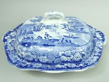 VICTORIAN ANTIQUE STAFFORDSHIRE POTTERY BLUE & WHITE POTTERY TUREEN & COVER 1840