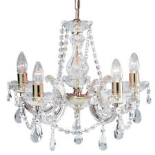 Searchlight 699-5 Marie Therese 5 Light Chandelier Clear & Polished Brass