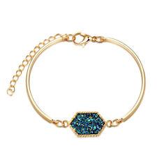 Women Rhinestone Geometry Bracelet Hand Chain Beaded Wedding Engagement Bangle