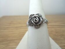 VINTAGE STERLING AND MARCASITE FLOWER RING....SIZE 7 1/2