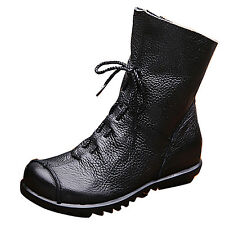 Vintage Womens Ladies Real Leather Snow BOOTS Cowboy Riding Warm Fur Lined Shoes Black UK 6