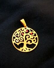 Anhänger Lebensbaum  Edelstahl 24 K vergoldet Chakra hochwertig Swarovski®