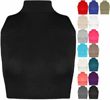 Womens Ladies Sleeveless Plain Polo High Neck Turtle Crop Top Vest T Shirt