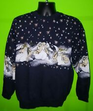 Vintage Art Unlimited Christmas sweatshirt ugly sweater w/Angels - sz XL