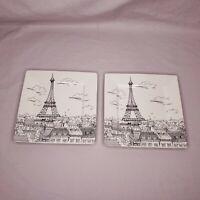 "222 Fifth Paris City Scenes 8"" Square Salad Luncheon Plate Eiffel Tower Set of 2"