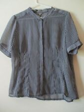 Career Button-Down Striped Tops for Women