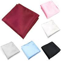 EP_ Plain Pocket Men Solid Hanky 15 Color Hanky Pocket Square Handkerchief Silk