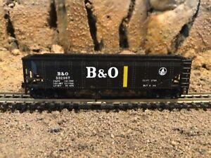 N Scale Con-Cor 4 bay hopper B&O BALTIMORE & OHIO mtl cplrs NIB