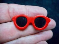 Authentic Vintage 1980's Red Lucite Sunglass Brooch/Pin