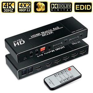 4K HDMI EDID Matrix 4 In 2 Out 4X2 Dual Audio Output Fiber HDMI