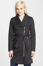 Mackage Leather Trim Asymmetrical Zip Black Trench Coat Size Small 2-4
